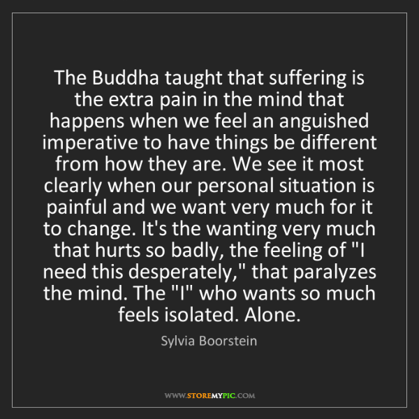 Sylvia Boorstein: The Buddha taught that suffering is the extra pain in...