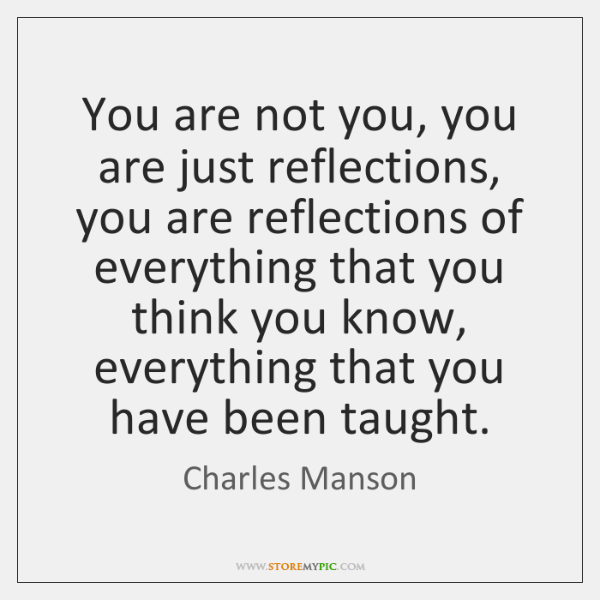 You are not you, you are just reflections, you are reflections of ...