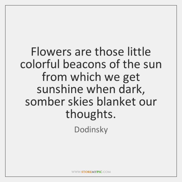 Flowers are those little colorful beacons of the sun from which we ...