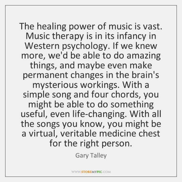 The healing power of music is vast. Music therapy is in its ...