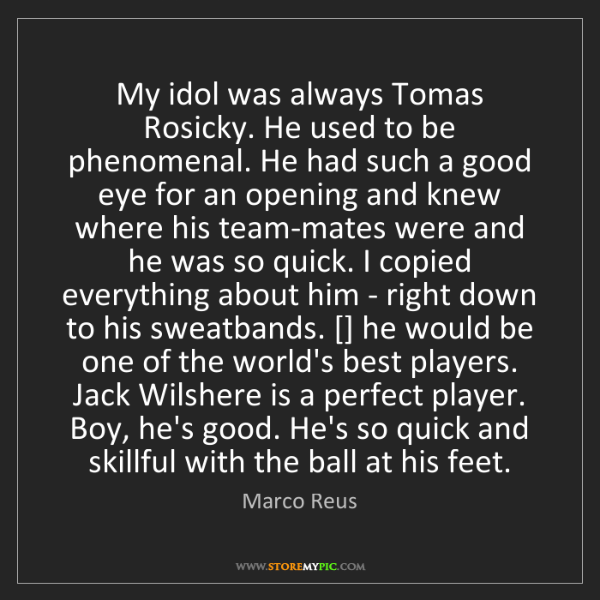 Marco Reus: My idol was always Tomas Rosicky. He used to be phenomenal....