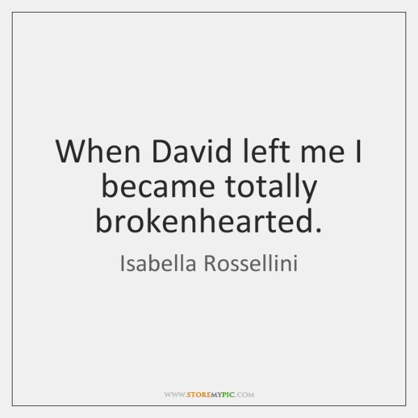 When David left me I became totally brokenhearted.