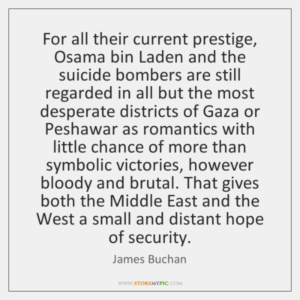 For all their current prestige, Osama bin Laden and the suicide bombers ...