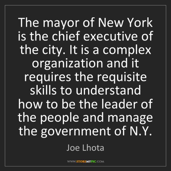 Joe Lhota: The mayor of New York is the chief executive of the city....