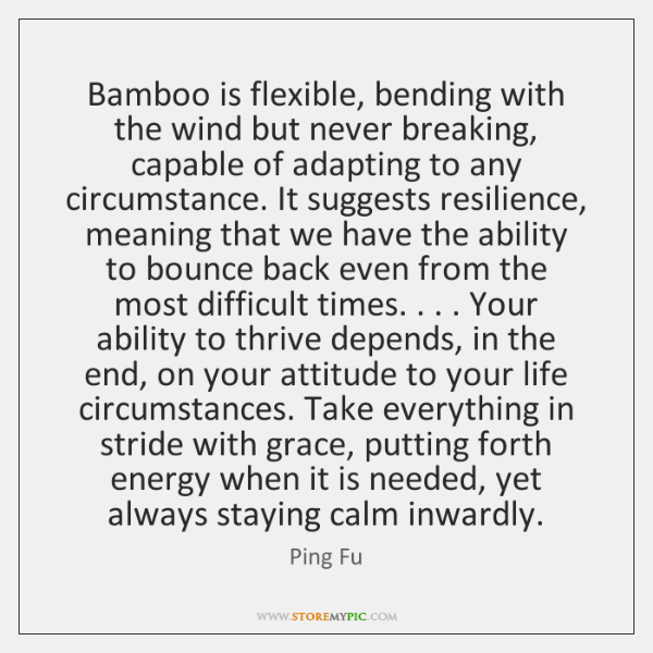 Bamboo is flexible, bending with the wind but never breaking, capable of ...