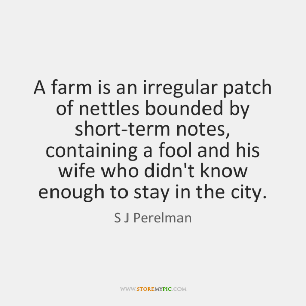 A farm is an irregular patch of nettles bounded by short-term notes, ...
