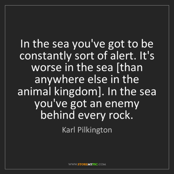 Karl Pilkington: In the sea you've got to be constantly sort of alert....