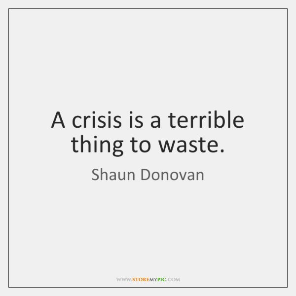 A crisis is a terrible thing to waste.