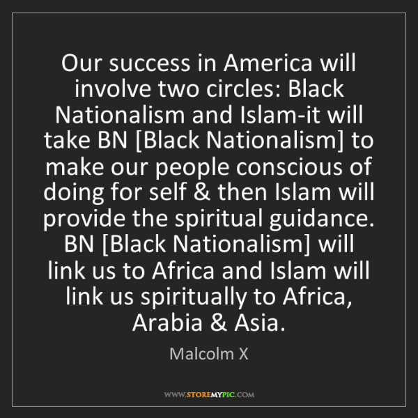 Malcolm X: Our success in America will involve two circles: Black...