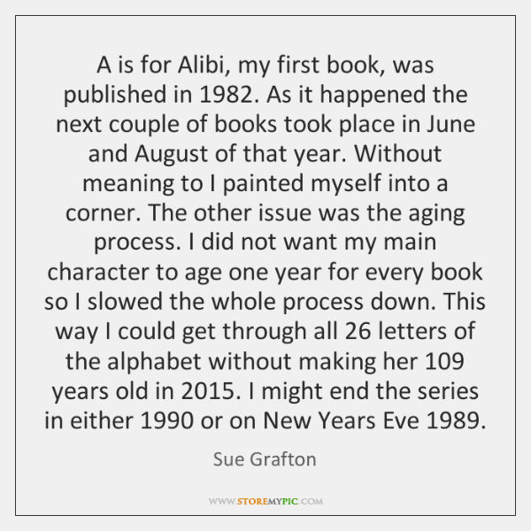 A is for Alibi, my first book, was published in 1982. As it ...
