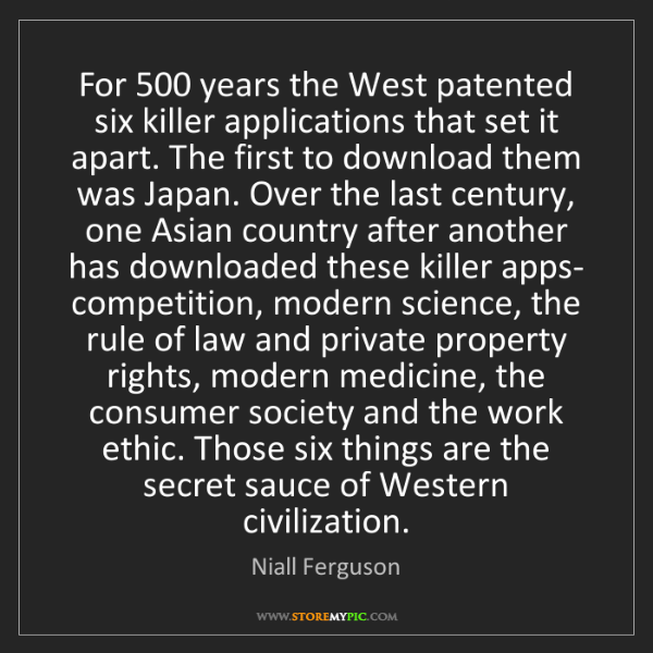 Niall Ferguson: For 500 years the West patented six killer applications...