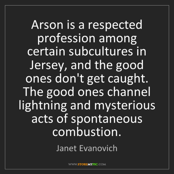 Janet Evanovich: Arson is a respected profession among certain subcultures...