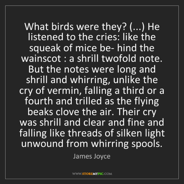 James Joyce: What birds were they? (...) He listened to the cries:...