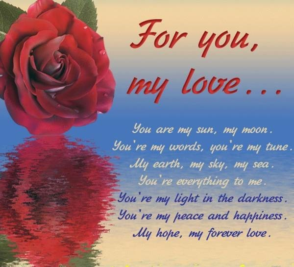 For you my love you are my sun my moon