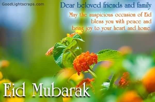 Dear beloved friends and family eid mubarak