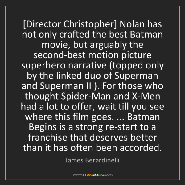 James Berardinelli: [Director Christopher] Nolan has not only crafted the...