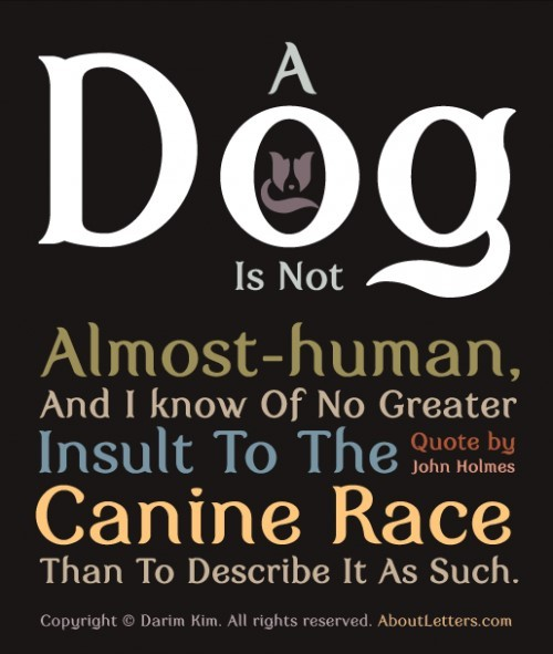 A dog is not almost human and i know of no greater insult to the canine race than to desc