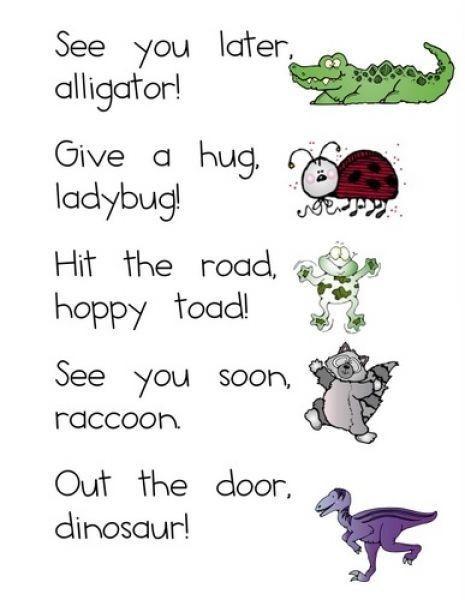 See you later alligator give a hug ladybug
