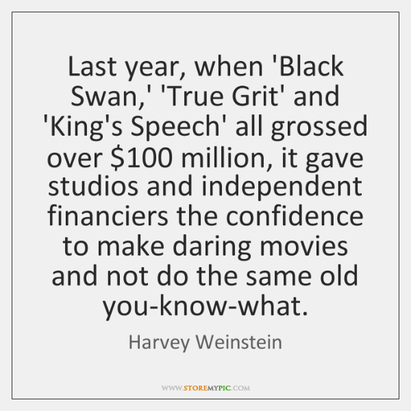 Last year, when 'Black Swan,' 'True Grit' and 'King's Speech' all ...