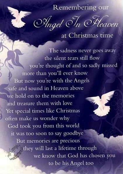 Remembering our angel in heaven at christmas time