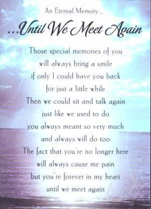 Until We Meet Again Those Special Memories Of You Will Always Bring