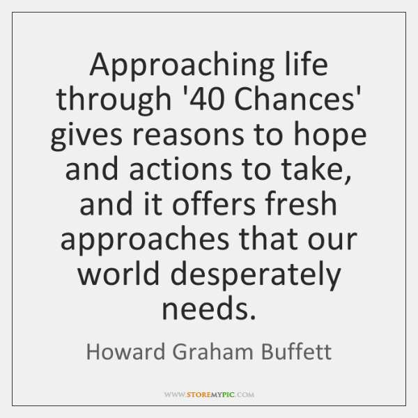 Approaching life through '40 Chances' gives reasons to hope and actions to ...