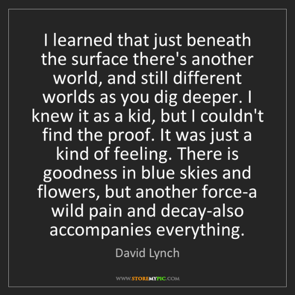 David Lynch: I learned that just beneath the surface there's another...