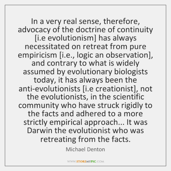In a very real sense, therefore, advocacy of the doctrine of continuity [...