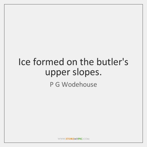 Ice formed on the butler's upper slopes.