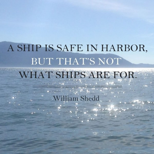 A ship is safe in harbor but thats not what ships are for
