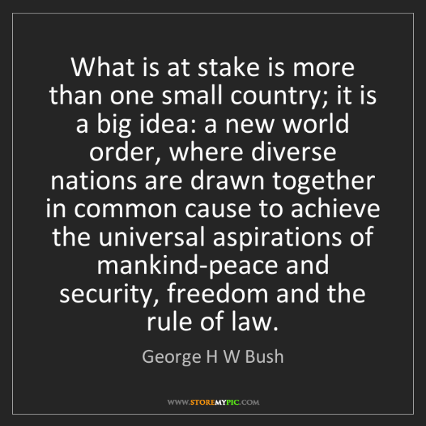 George H W Bush: What is at stake is more than one small country; it is...