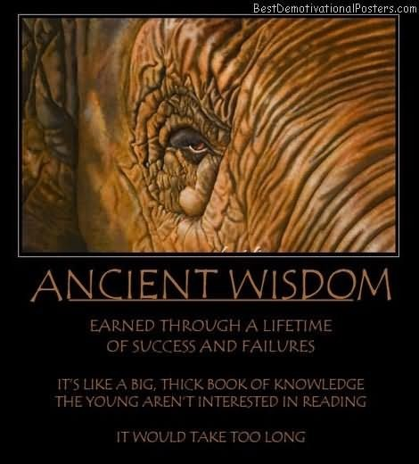 Ancient wisdom earned through a lifetime of success and failures