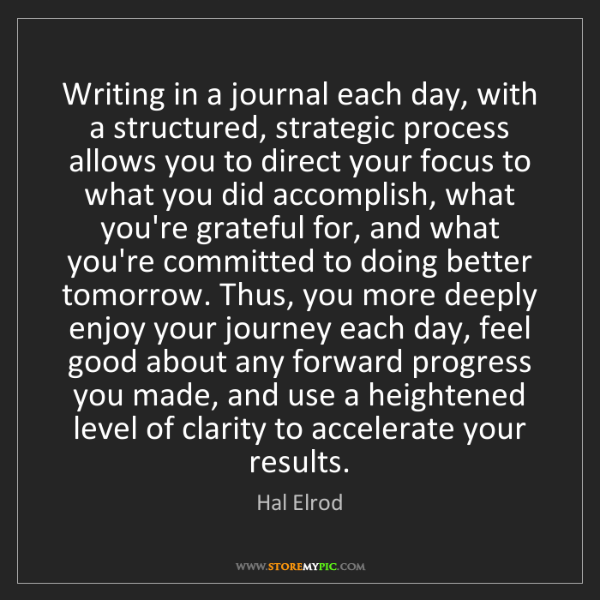 Hal Elrod: Writing in a journal each day, with a structured, strategic...