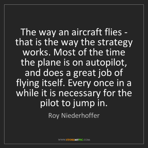 Roy Niederhoffer: The way an aircraft flies - that is the way the strategy...