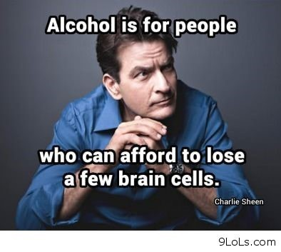 Alcohol is for people who can afford to loswe a few brain cells