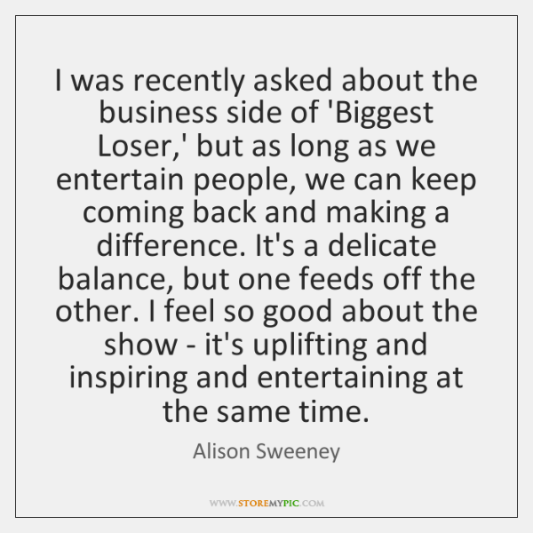 I was recently asked about the business side of 'Biggest Loser,' ...