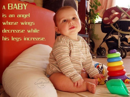 A baby is an angel whose wings decrease while his legs increase