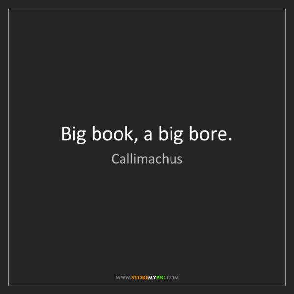 Callimachus: Big book, a big bore.