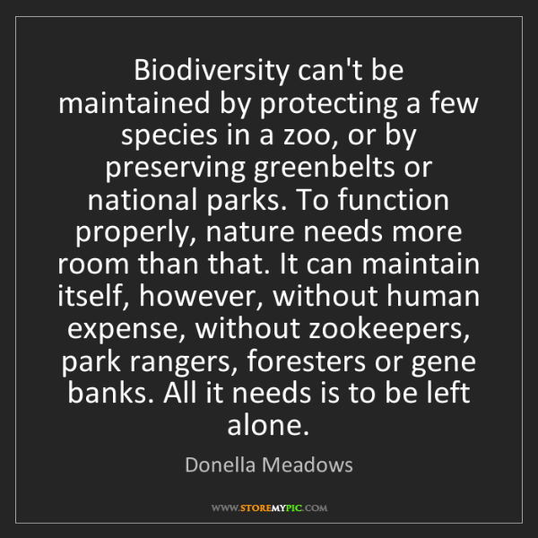 Donella Meadows: Biodiversity can't be maintained by protecting a few...