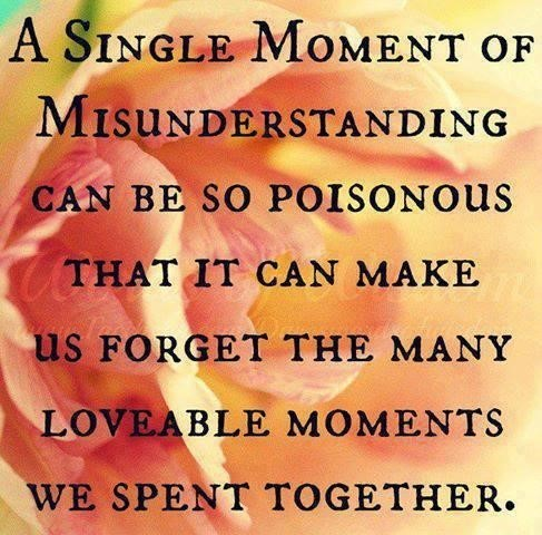 A single moment of misunderstanding can be so poisonous that it can make us forget th