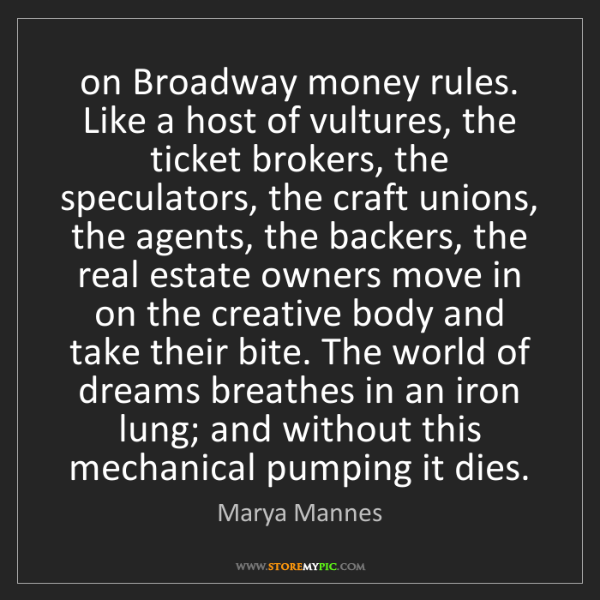 Marya Mannes: on Broadway money rules. Like a host of vultures, the...