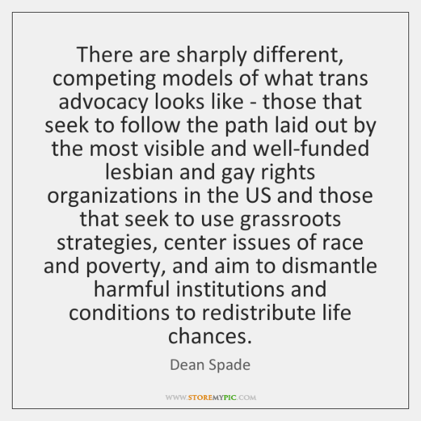 There are sharply different, competing models of what trans advocacy looks like ...
