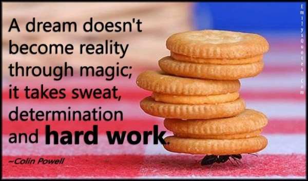 A dream doesnt become reality through magic it takes sweat determination and har