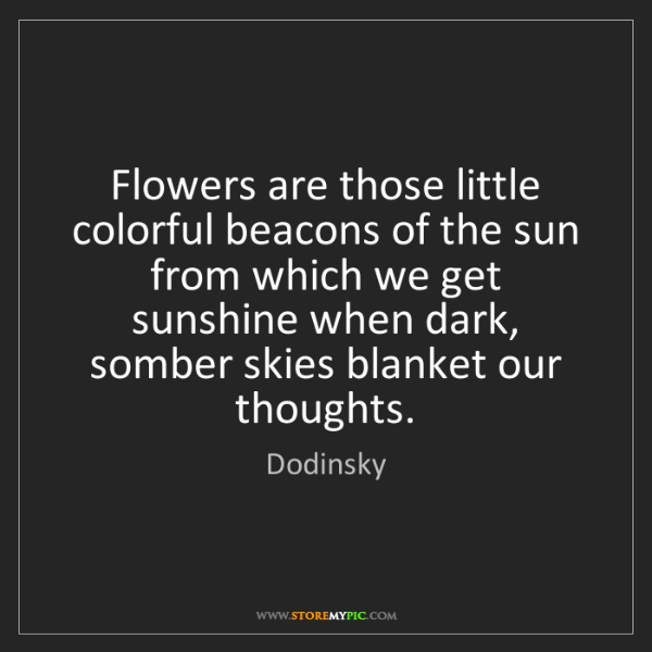 Dodinsky: Flowers are those little colorful beacons of the sun...
