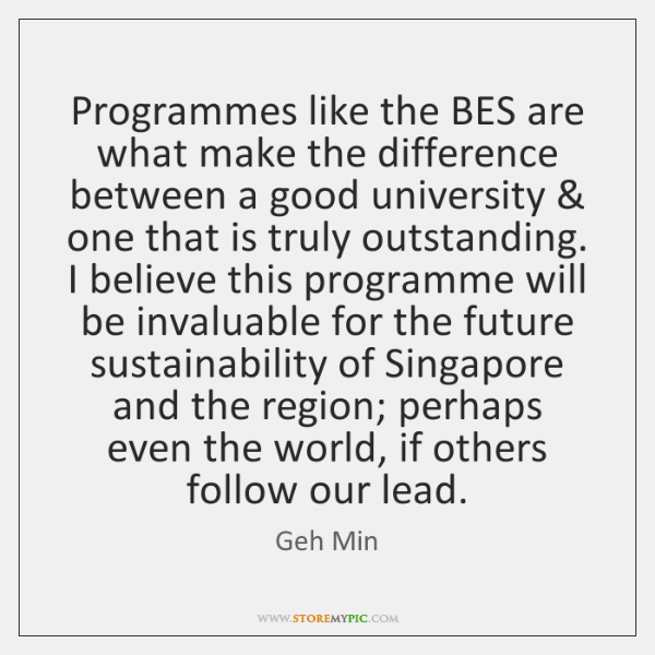 Programmes like the BES are what make the difference between a good ...