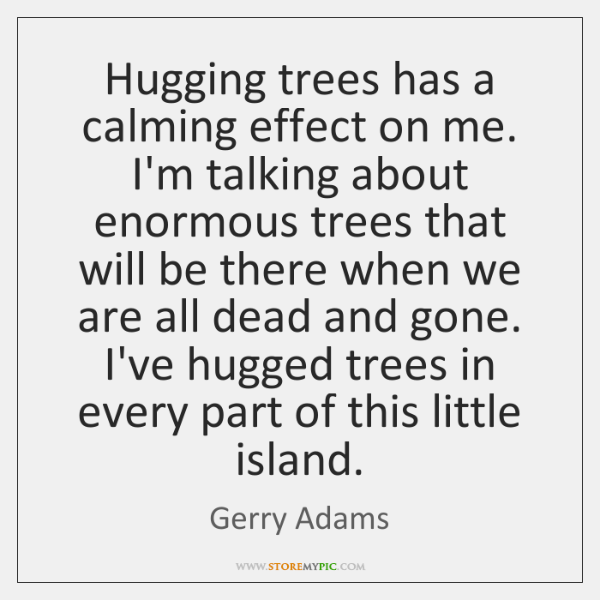 Hugging trees has a calming effect on me. I'm talking about enormous ...