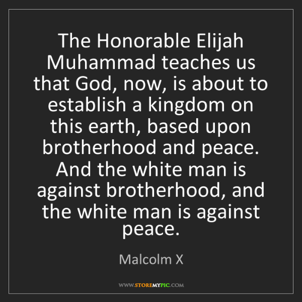 Malcolm X: The Honorable Elijah Muhammad teaches us that God, now,...