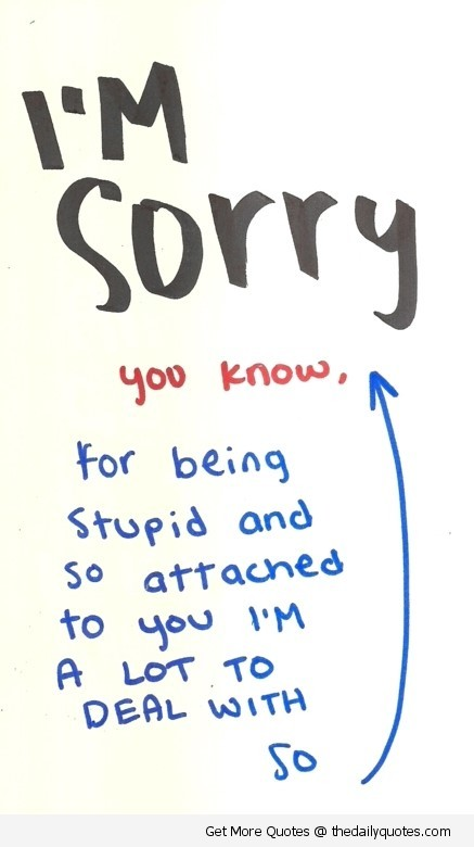 Im sorry you know for being stupid and so attached to you im a lot to deal with so