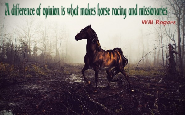 A difference of opinion is what makes horse racing and missionaries