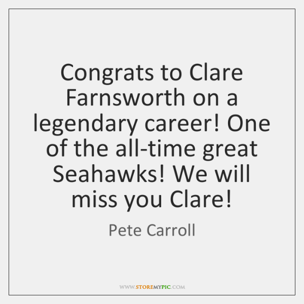 Congrats to Clare Farnsworth on a legendary career! One of the all-time ...
